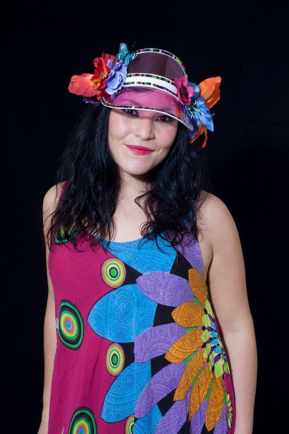 290bbdd9851 Floral Festival Visor Hat Funky 80s Visor Retro Hair