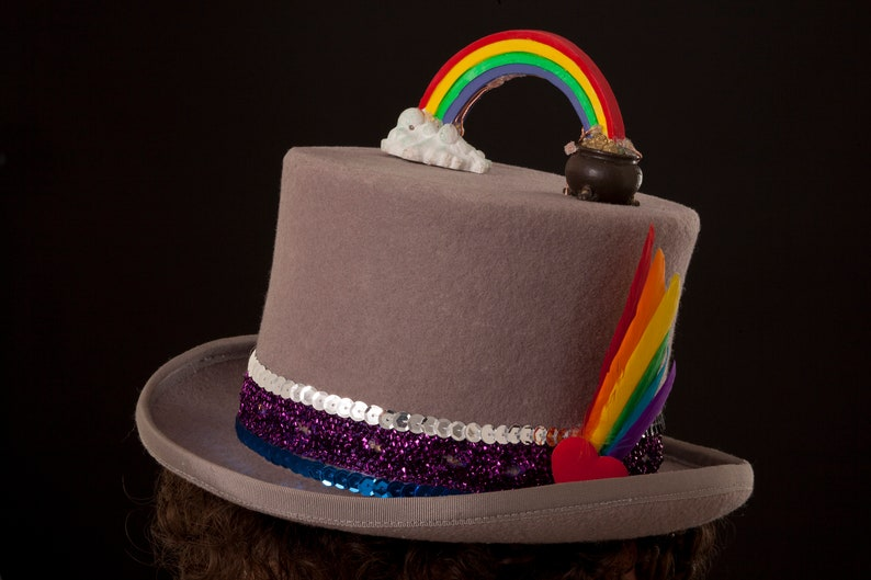 Rainbow Pride Top Hat Funky Festival Light Up Grey And