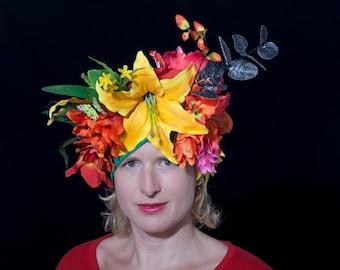 Carnival headwear, Mardi Gras floral headdress, Burlesque Flower headpiece, Festival hat, Fancy dress, Tropical headwrap, carmen miranda hat