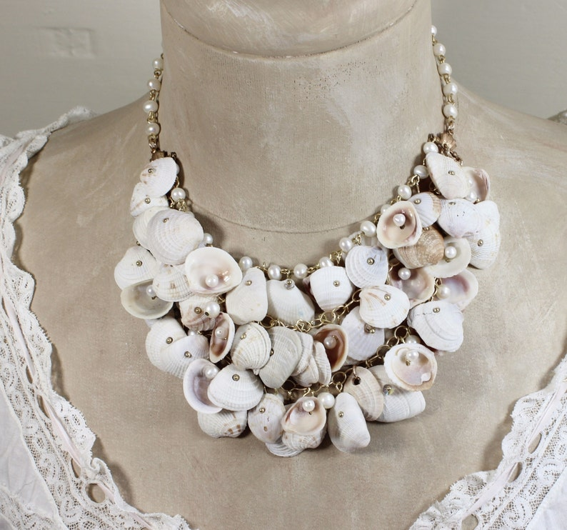 Bridal Beach Wedding Sea Shell and Genuine Pearl Gold Plated Statement Necklace Swept Away One of a Kind