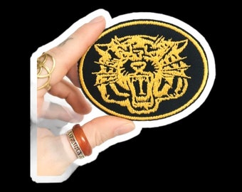 """Tiger , Retro Hamilton Ticats , Yellow Embroidery on Black Denim Remnants , Embroidered Iron on Patch , 3.5"""" , Made in Hamilton Canada"""