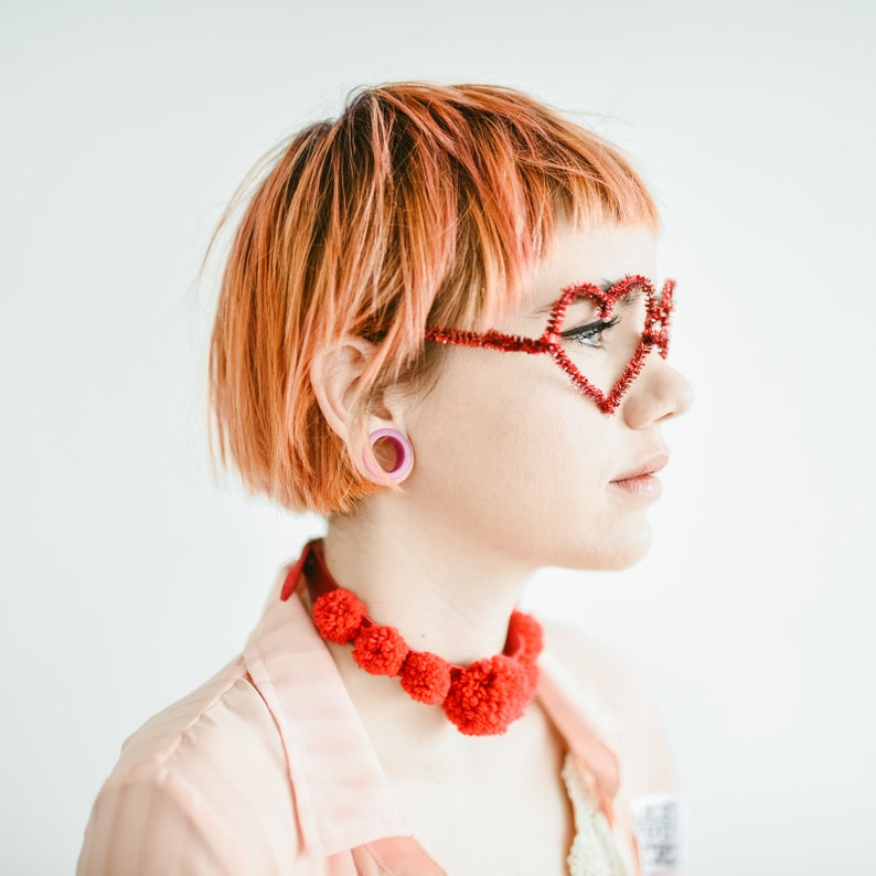 Fear of Madness X USHIMART  Red PomPom Choker Necklace  collar textured handmade pompoms  statement jewelry  valentines