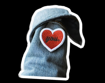 Custom , Personalized Patch , Custom Colour and Saying , Love You Mini Candy Heart , Iron on Patch