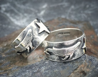 Whale Ring, silver humpback starry whale ring .