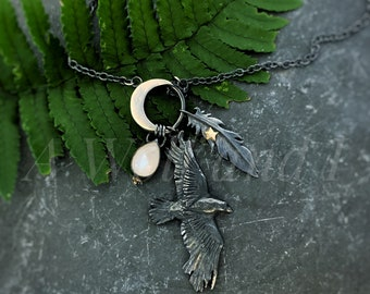 Moon Raven Necklace - ( Short length ), raven jewellery, crow necklace, moonstone necklace, moon, stars, raven, witch jewellery.
