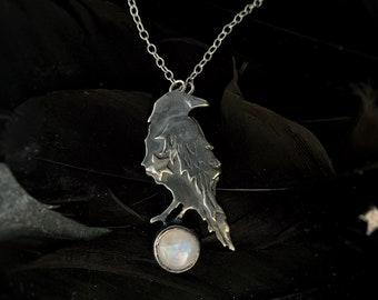 Raven and moonstone Necklace - 'Rebi' , ravens, crow, raven jewellery, raven necklace, bird jewellery, raven jewelry, bird necklace.