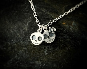 Cutest Skull charm necklace ever! - skull charm, silver charms, tiny skulls, Halloween jewellery, goth necklace, skeletons, skulls