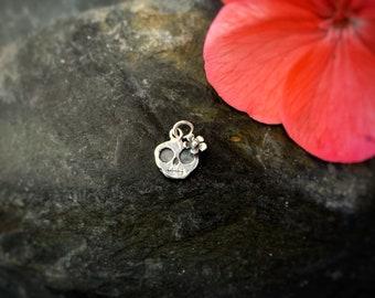 Tiny Skull charm - 'Ruby', cute skull, skull with flower, skeletons, Halloween, goth, skeletons
