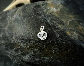 Tiny skull charm - 'Roger', cute skull, Halloween, Halloween jewellery, skull jewelry, silver charm, silver skull