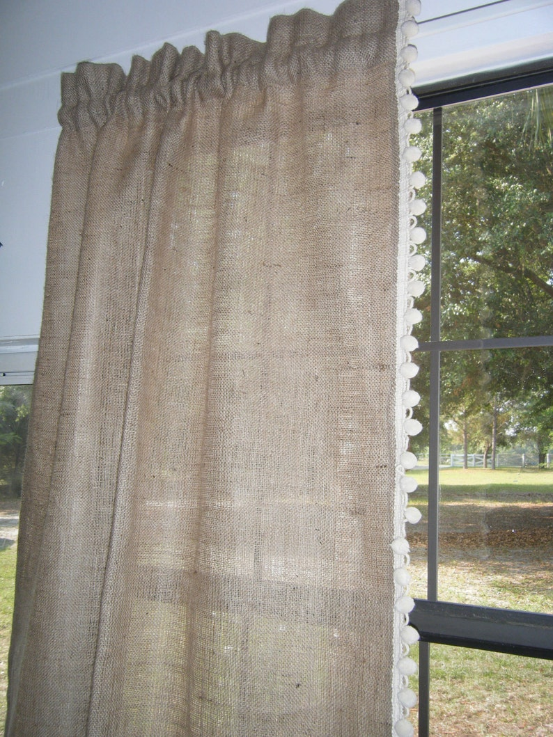 Burlap Curtain with Pom Fringe 56 wide x 36-96 long by Jackie Dix