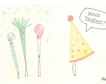 birthday greeting card, watercolor card, cute folded birthday card