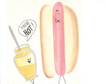hot dog greeting card, watercolor card, cute folded greeting