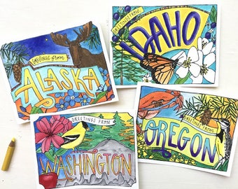 Coloring Postcard Set, Pacific Northwest handdrawn coloring postcards, PNW
