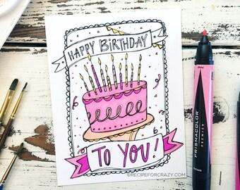 Coloring Postcard, happy birthday, handdrawn postcard, illustrated coloring