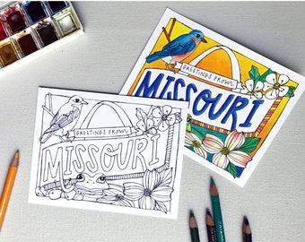 Coloring Postcard, MISSOURI handdrawn postcard