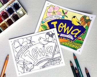 Coloring Postcard, IOWA handdrawn postcard