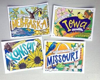 Coloring Postcard Set, Central Plains handdrawn coloring postcards
