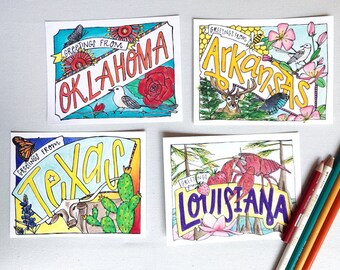 Coloring Postcard Set, Southwest handdrawn coloring postcards, Oklahoma, Texas, Arkansas, Louisiana