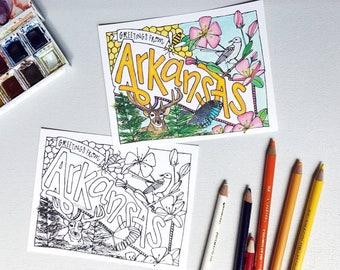 Coloring Postcard, ARKANSAS handdrawn postcard