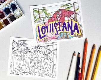 Coloring Postcard, LOUISIANA handdrawn postcard