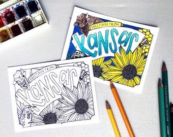 Coloring Postcard, KANSAS handdrawn postcard
