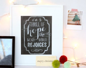 A Thrill of Hope, Christmas & holiday handdrawn chalk art print