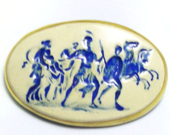 White Military Army Patriotic Scene Made in Britain Vintage Blue Porcelain Brooch, vintage blue ceramic brooch, hand painted, kiln fired