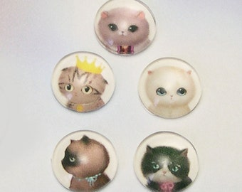 18 Cat Face Cabochons, cat cabochons, glass cabochons, assorted cat rhinestones, assorted cat cabs, jewelry supply, lizones on etsy