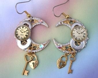 Watch Parts Gears Steampunk Earrings, celestial earrings, crescent moon earrings, upcycled steam punk earrings, Unique steampunk, lizones