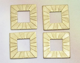 QTY 14 New Old Stock Square Brass Stampings, square charms, gold square stamping, square blanks, ornate, scored, assemblage, lizones