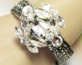Handmade Chunky Rhinestone Cuff Bracelet, one of a kind, recycled vintage jewelry, crystal rhinestone cuff bracelet, statement, lizones etsy