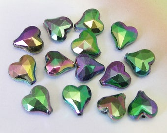 QTY 300 Vintage Heart Beads, AB, purple blue green hearts, new old stock, plastic, resin heart beads, colorful, jewelry supply, lizones etsy