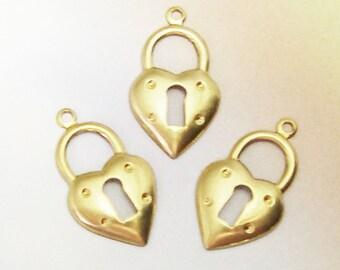 QTY 15 Steampunk Keyhole Heart Charms, keyhole heart stampings, steampunk charm lot, charm destash lot, key hole charms, lizones on etsy