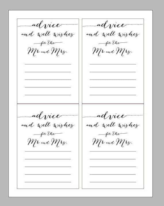 PRINTED Marriage advice cards Wedding advice cards