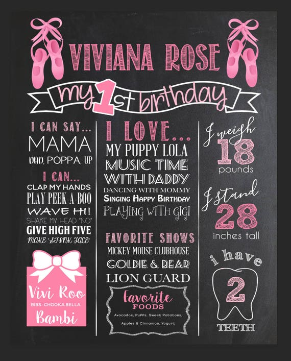 photo regarding Give Me Five Poster Printable Free identified as Birthday Chalkboard Poster, Printable signal, Female or Boy To start with Birthday Chalkboard, Ballerina, tutu, Totally free document for uncomplicated social media sharing
