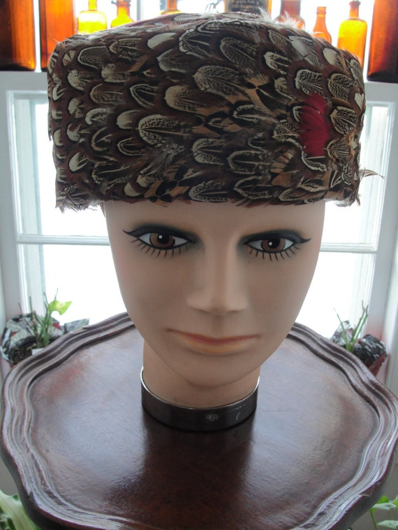 Vintage pill box pheasant feather hat 1960s GFox P