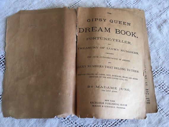 Antique Gipsy Queen Fortune Teller Dream Book Lucky Numbers 1887 by Madame  Juno Excelsior Publishing House NY