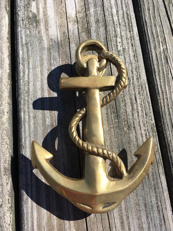 Vintage Solid Brass Anchor Door Knocker