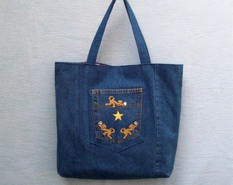 5a71c451d03 Gold star and Monkeys with Crystals - large denim tote with decoration,  handmade from recycled jeans
