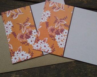 Orange Vintage Fabric, Flower -- stationery set of 5