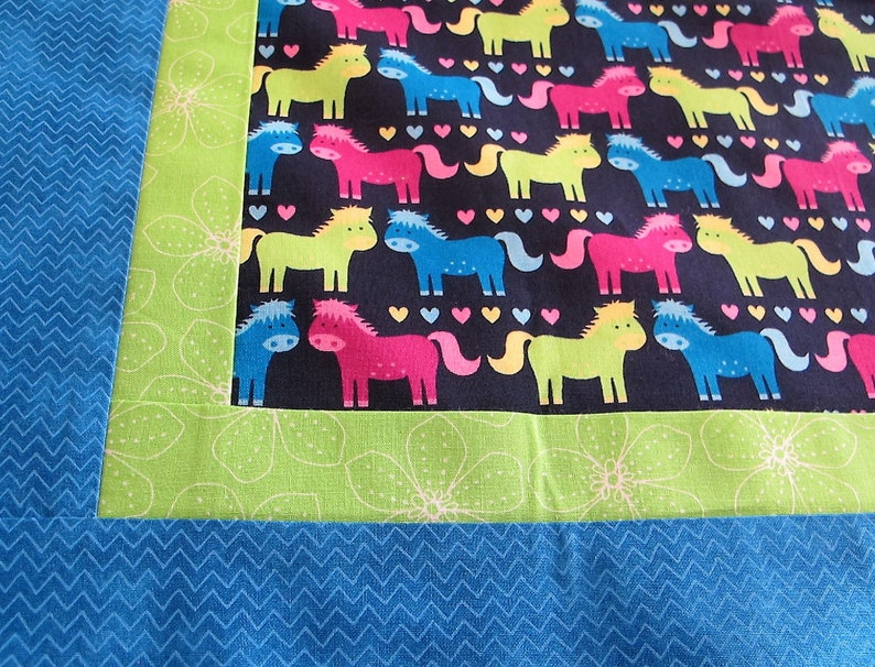 Horses quilt top 44 x 60 neon girl blanket toddler quilt This DIY Unfinished Quilt Top can be custom finished for additional fees