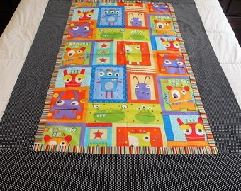 """Monsters quilt top 42"""" x 60"""" toddler blanket This is a DIY Unfinished quilt top and can be custom finished for additional fees"""