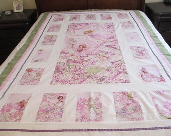"""Fairies quilt top 54"""" x 79"""" twin size quilt beautiful   This is a DIY Unfinished Quilt Top and can be custom finished for additional fees"""