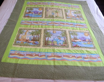 """Jungle animals quilt top 42"""" x 50"""" toddler quilt nursery This is a DIY Unfinished Quilt Top and can be custom finished for additional fees"""