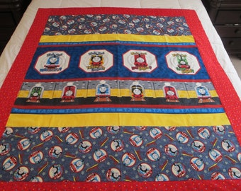 """Thomas the train quilt top 50"""" x 57"""" toddler boy quilt  This is a DIY Unfinished Quilt Top and can be custom finished for additional fees"""