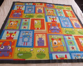 """Googlie Monsters quilt top 44"""" x 44"""" toddler blanket This is a DIY Unfinished Quilt Top and can be custom finished for additional fees"""