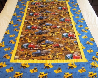 """Construction trucks quilt top 41"""" x 60"""" trucks toddler bedding This DIY Unfinished Quilt Top can be custom finished for additional fees"""