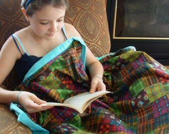 """Flannel travel blanket 38"""" X 52""""  child blanket cozy double layer quilted plaid owls"""