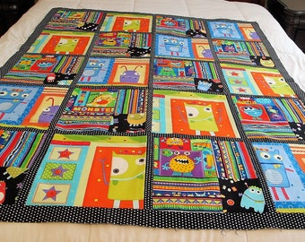 """Monsters toddler bedding quilt top 45"""" x 56"""" child blanket This is a DIY Unfinished Quilt Top and can be custom finished for additional fees"""