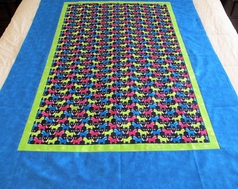"""Horses quilt top 44"""" x 60"""" neon girl blanket toddler quilt This DIY Unfinished Quilt Top can be custom finished for additional fees"""